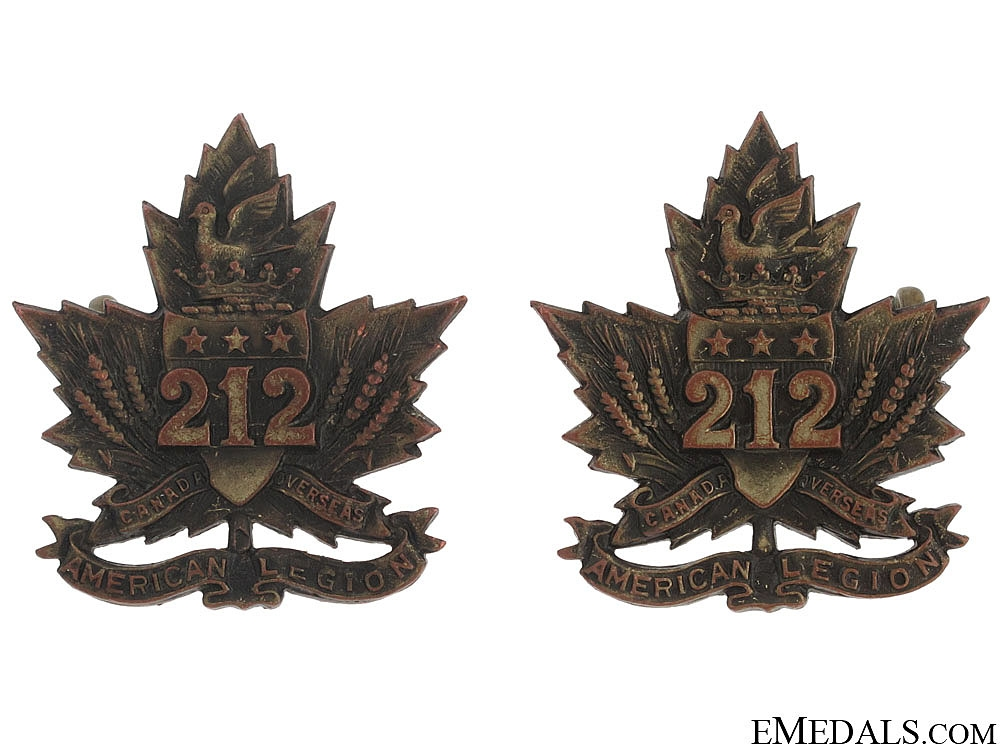 "WWI 212th Battalion ""Winnipeg Americans"" Collar Tabs"