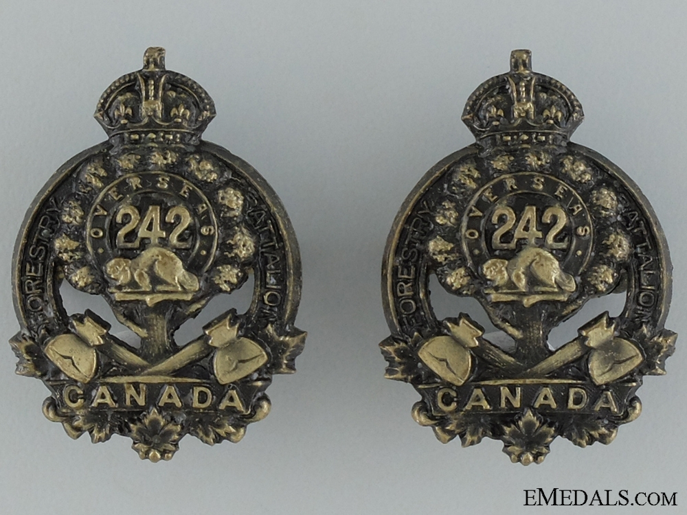 WWI 242nd Infantry Battalion Collar Badge Pair
