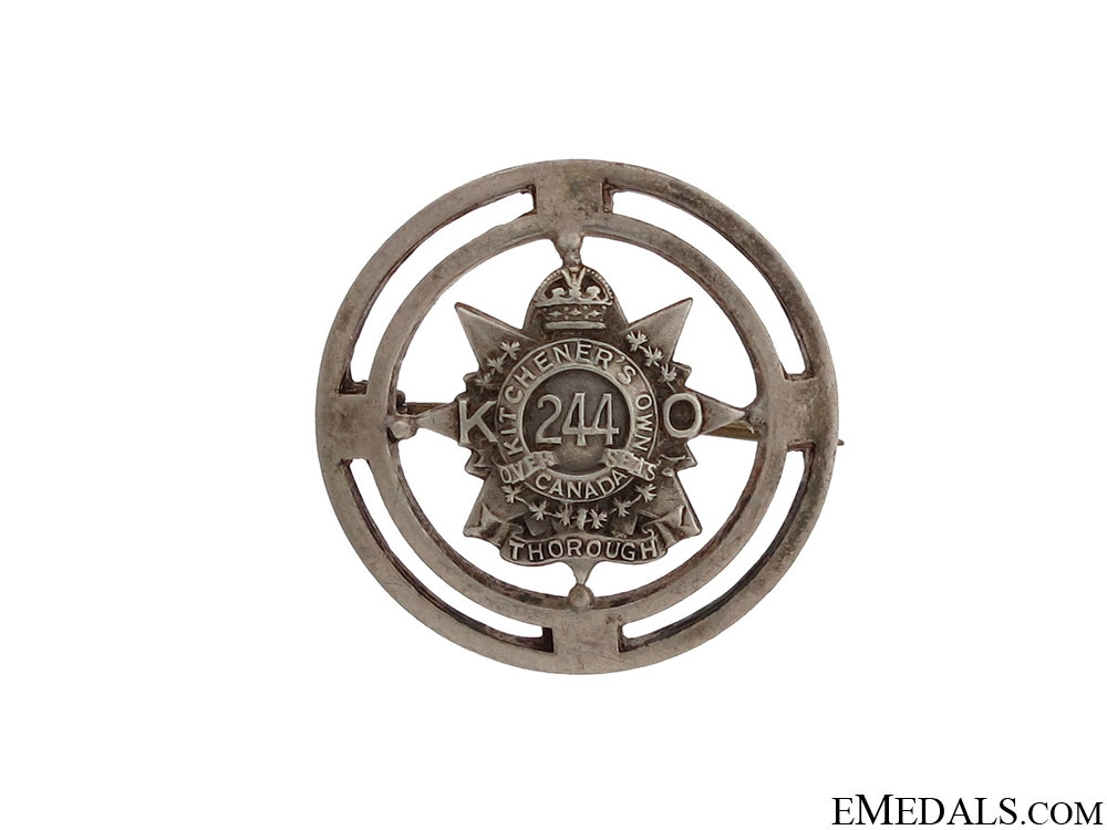 WWI 244th Kitchener's Own Pin CEF