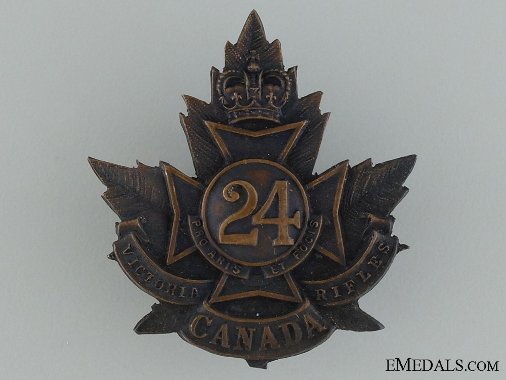 "WWI 24th Infantry Battalion ""Victoria Rifles"" Cap Badge"