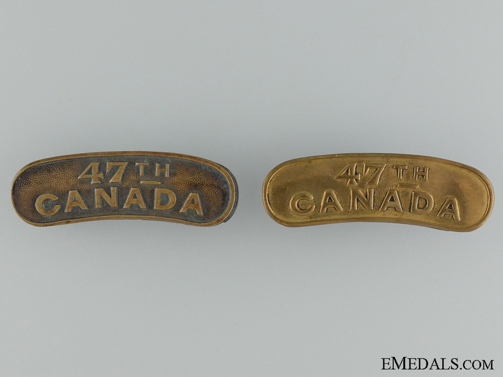 WWI 47th Infantry Battalion Shoulder Title Pair CEF