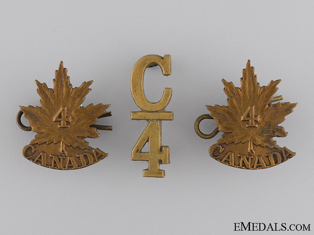 WWI 4th Canadian Infantry Battalion Insignia Set CEF