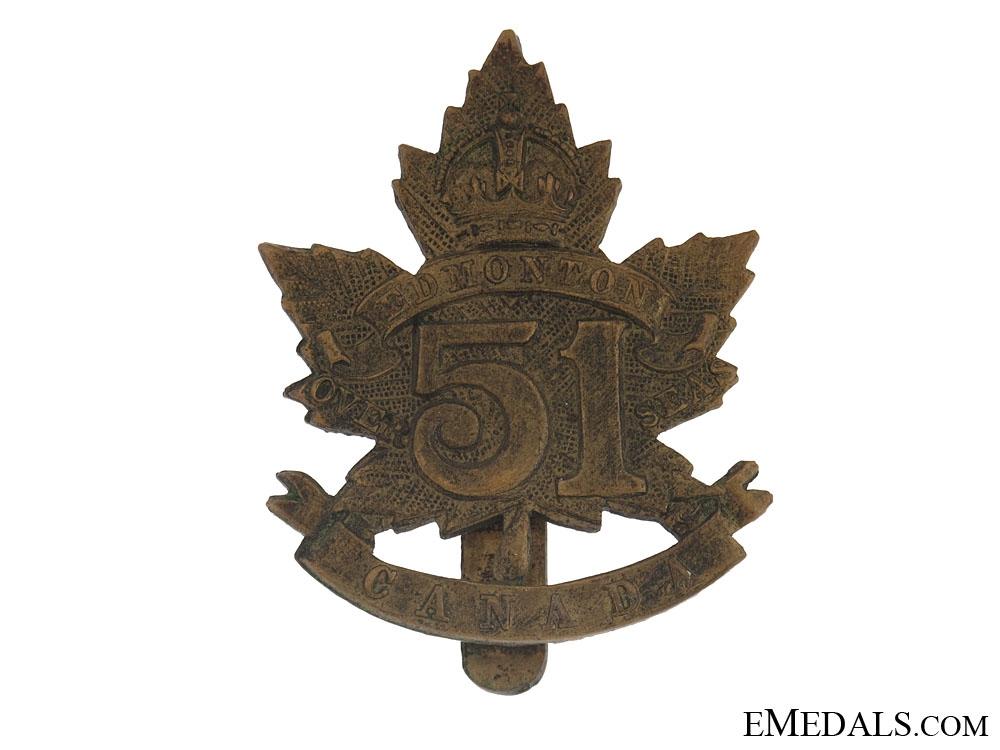 WWI 51st Bn Edmonton Regiment Cap Badge - CEF