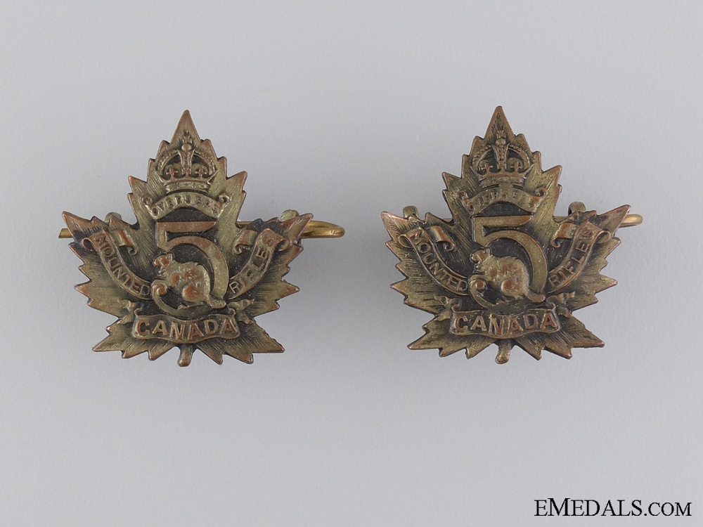 WWI 5th Mounted Rifle Battalion Collar Badge Pair