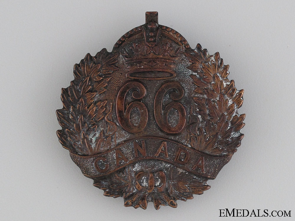WWI 66th Canadian Infantry Cap Badge CEF