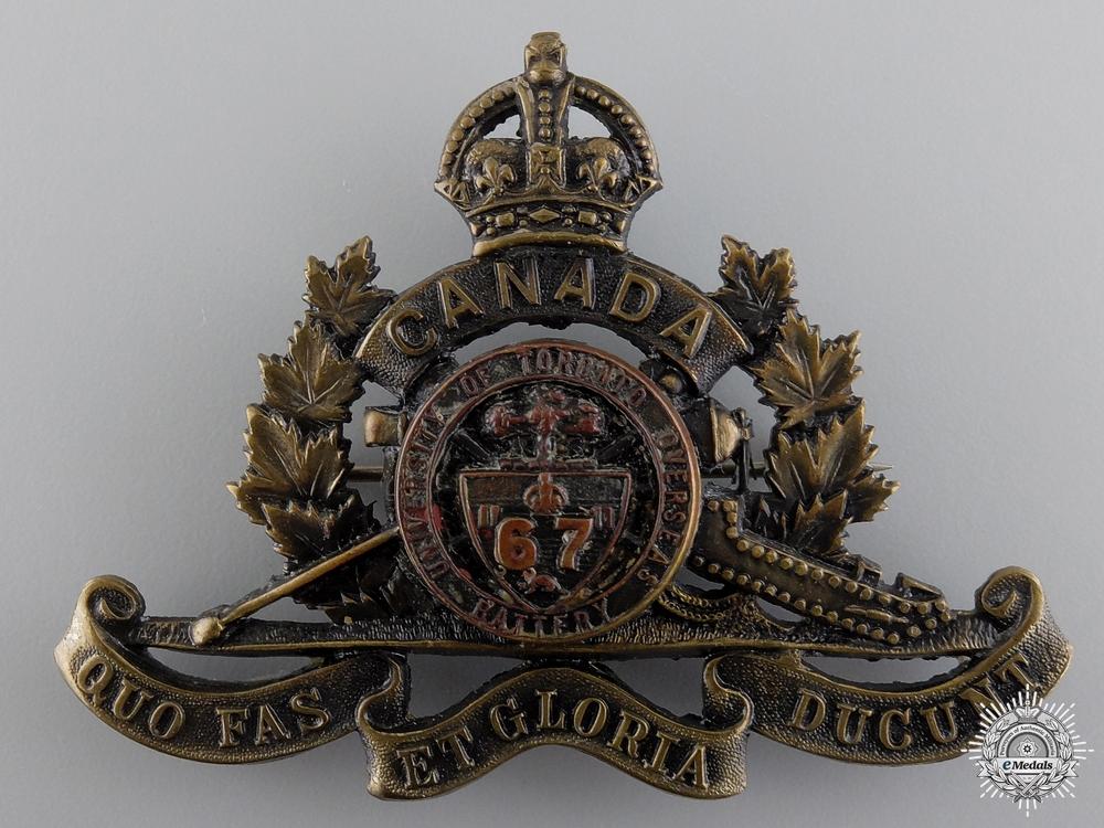 WWI 67th University of Toronto Overseas Field Battery Cap Badge