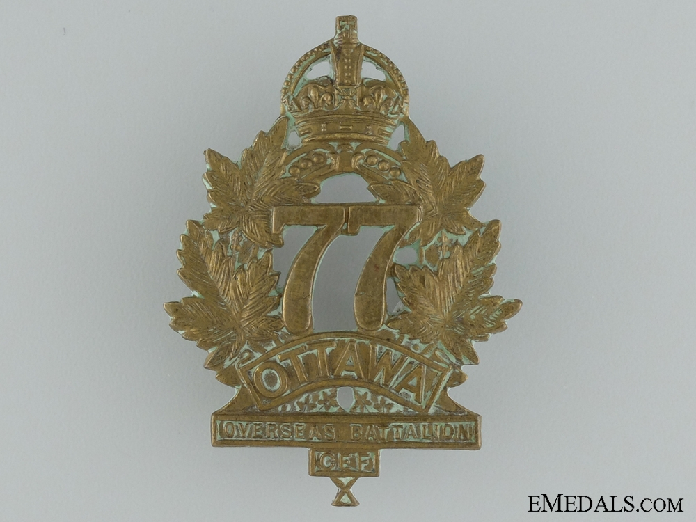 "WWI 77th Infantry Battalion ""Ottawa Battalion"" Cap Badge"
