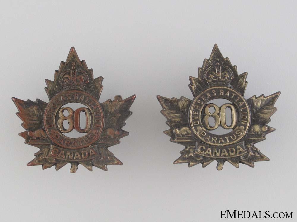 WWI 80th Infantry Battalion Collar Tab Pair CEF