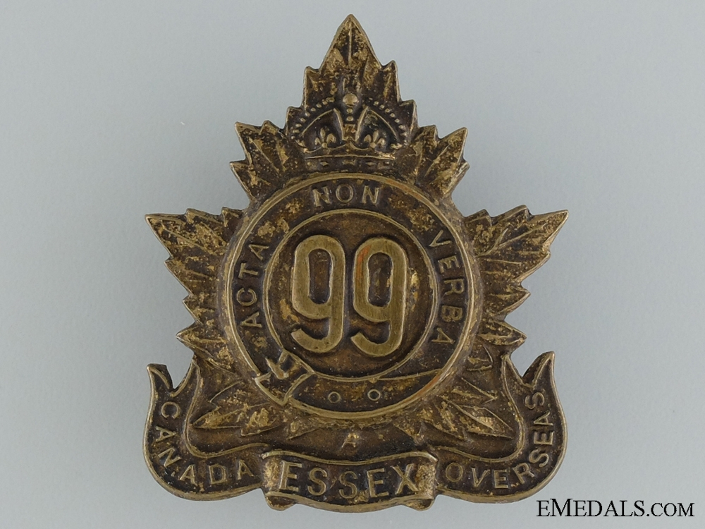 """WWI 99th Infantry Battalion """"Essex Battalion"""" Cap Badge"""