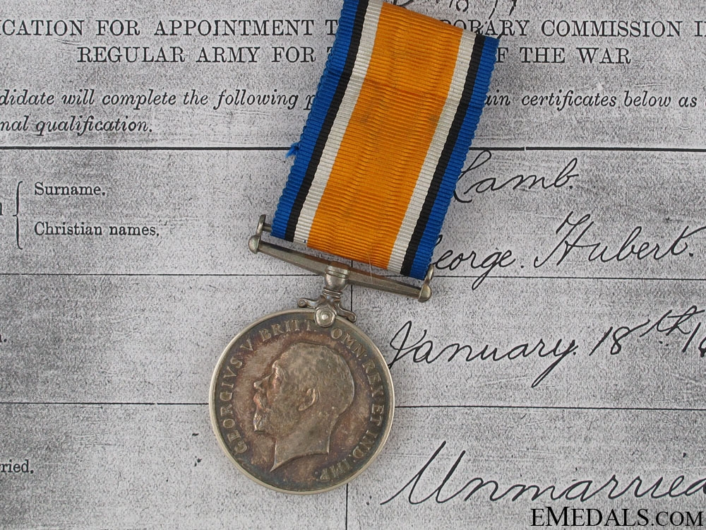 WWI British War Medal - Lt.George Lamb R.F.A.