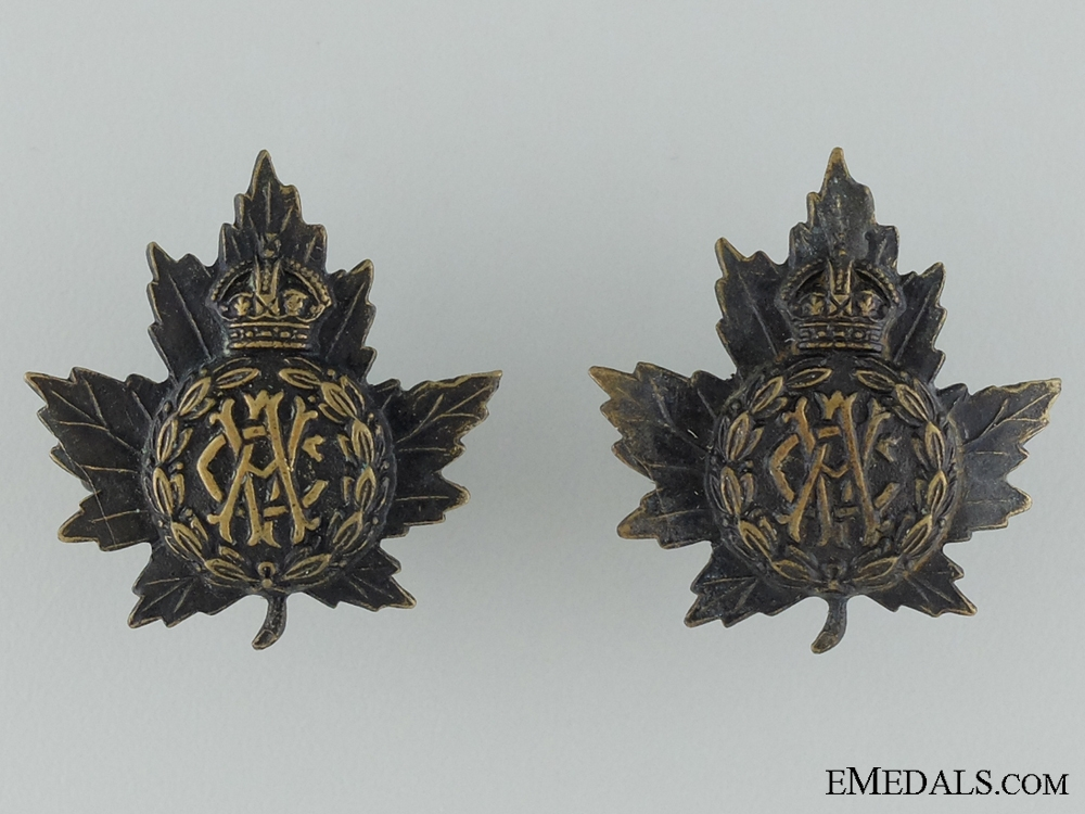 WWI Canadian Army Veterinary Corps Collar Tab Pair