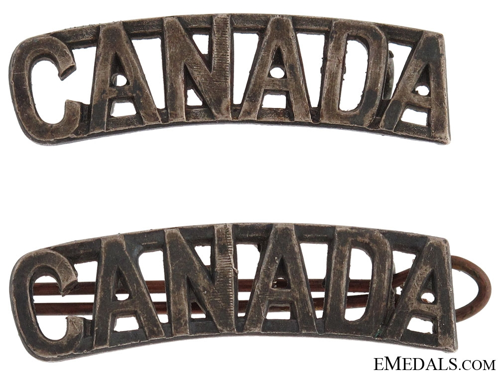 "WWI CEF ""CANADA"" Officer's Shoulder Titles"