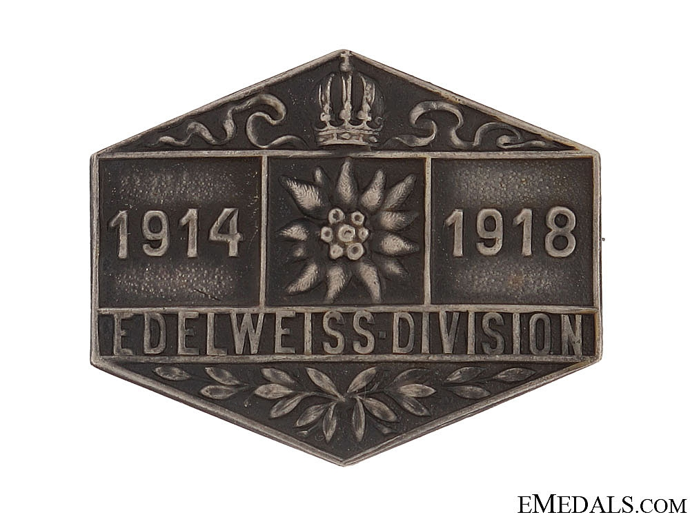 WWI Edelweiss Division Veterans Badge 1914-1918