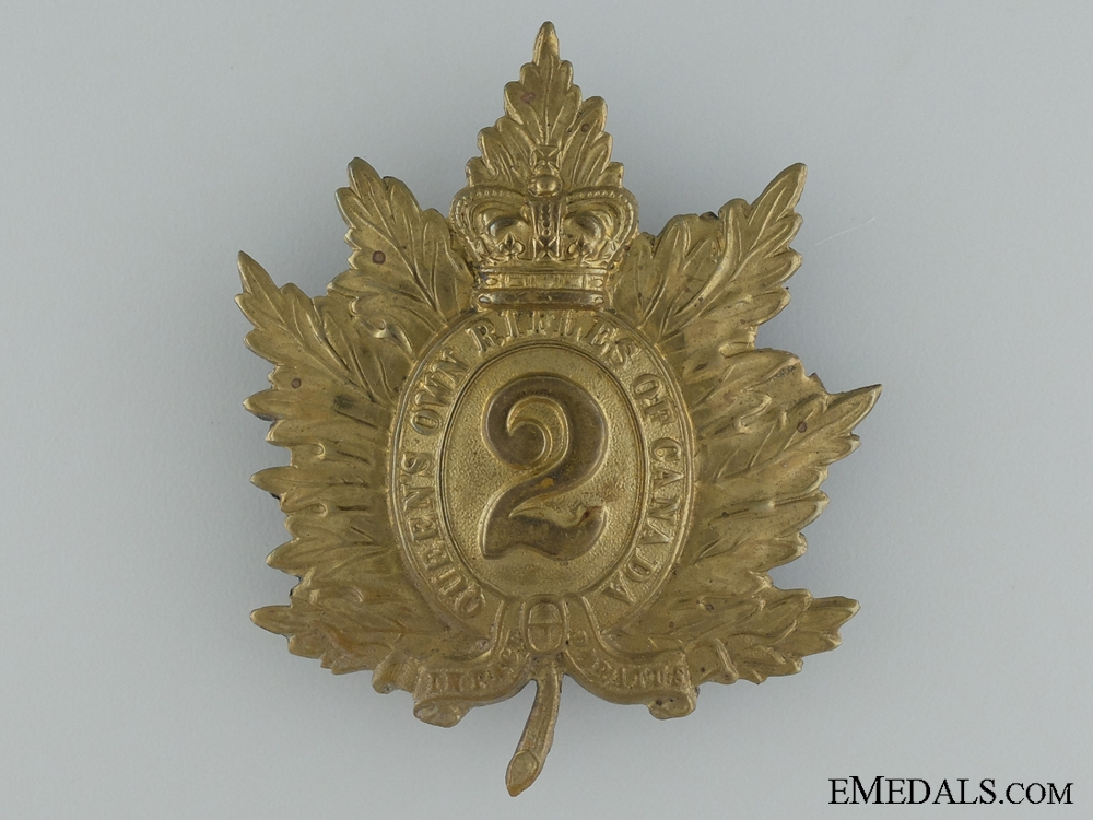 WWI Era 2nd Regiment Queen's Own Rifles Cap Badge