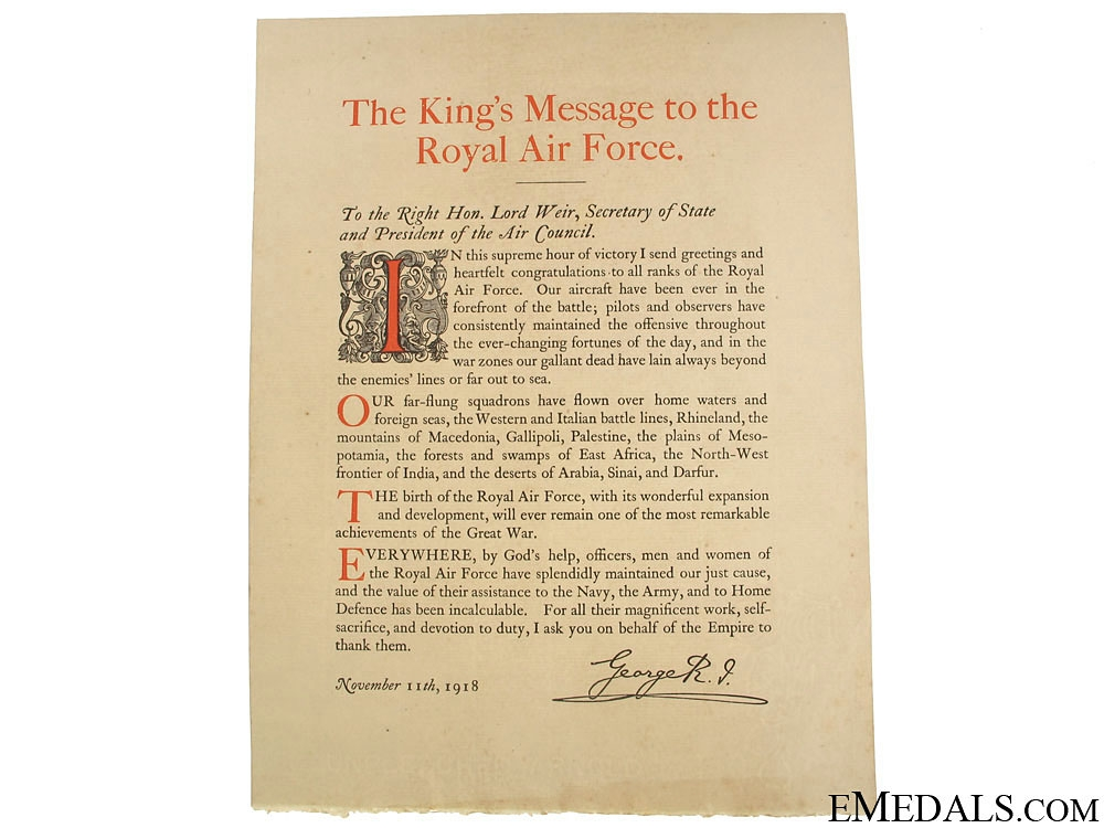 WWI King's Victory Message to the RAF