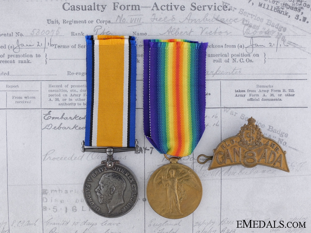 WWI Pair to Private Albert V. Boon, 8th Canadian Field Ambulance, Canadian Army Medical Corps