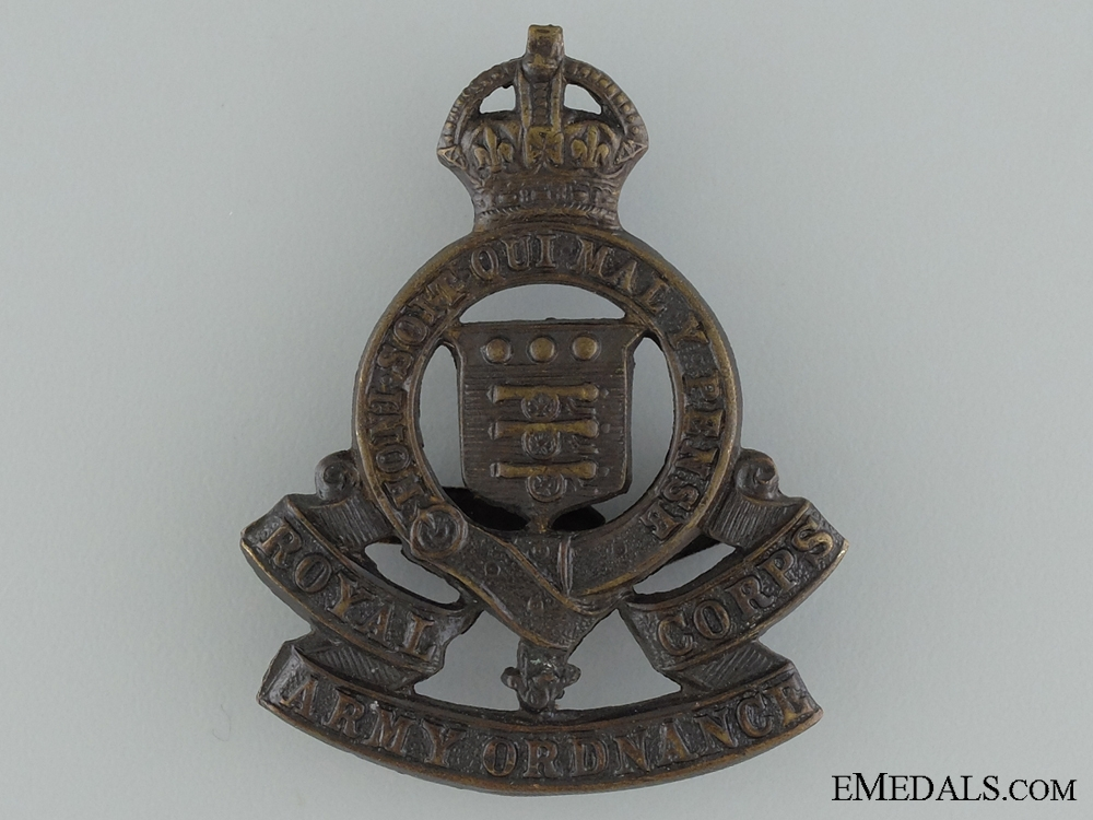 WWI Royal Army Ordnance Corps Cap Badge