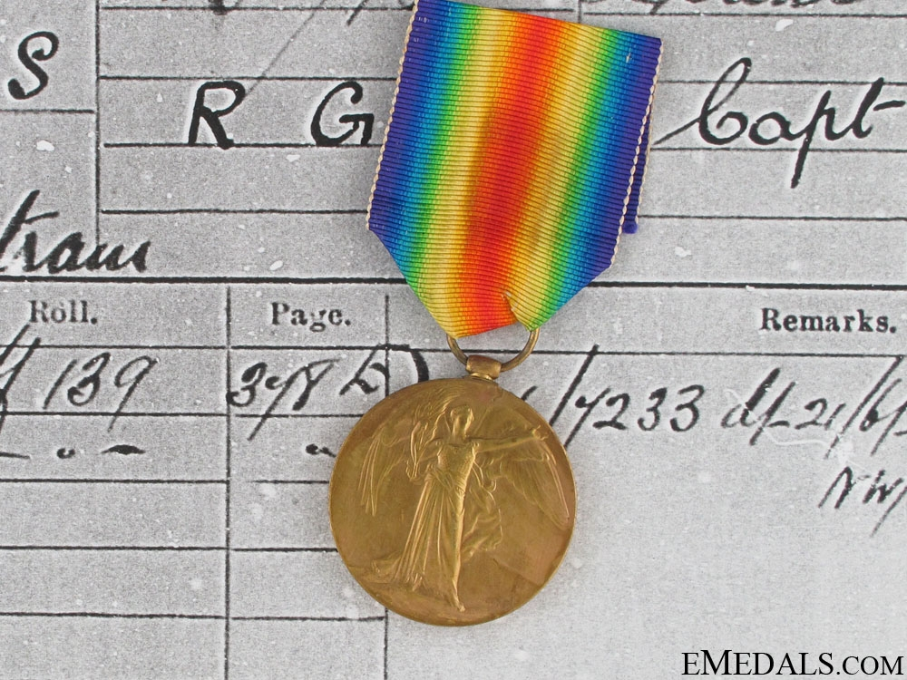 WWI Victory Medal - Lieutenant A.B. Clements RFA