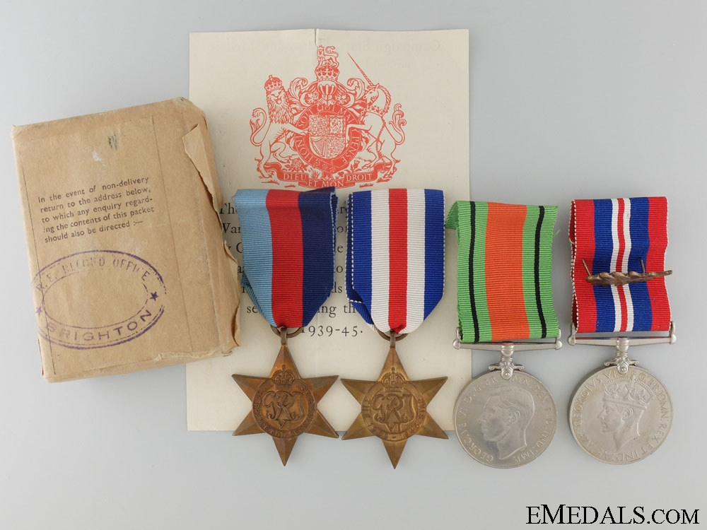 WWII British Group of Four Medals with Shipping Container