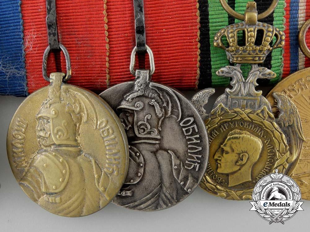 A First War Serbian Officer's Medal Bar of Nine