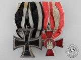 A First War  Hanseaten Cross & Iron Cross Medal Pair