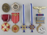 A Lot of Eight European Medals, Awards, and Badges