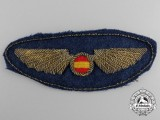 A Spanish Air Force Pilot's Badge; Cloth Version