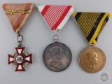 A Group of Three Imperial Austrian Awards