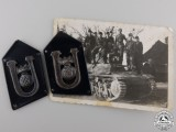 A Set of Croatian Tank/Armoured Regiment Collar Badges with Photo