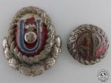 A Set of WWII Croatian Ustasha Officer's Cap Insignia