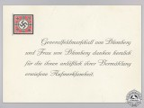 A Wedding Attendance Thank You Card from Generalfeldmarschall Werner von Blomberg