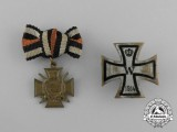 A Grouping of Two First War German Boutonnieres and Badges