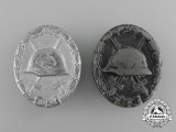 A Grouping of Two Second War German De-Nazified Silver Grade Wound Badges