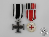 A First War Iron Cross 1914 &  Prussian Red Cross Medal Pair
