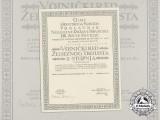 A Croatian Military Order of Trefoil Award Doc. to Art. Hauptmann, I.Kos.Art.Abt./Kuban/I/55