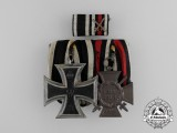 A First War German Iron Cross 1914 Second Class and Hindenburg Cross Medal Bar Grouping