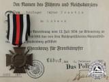 A Cased Named Honour Cross of the World War 1914/1918 by Orden-Herstellergemeinschaft
