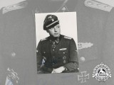 A Postwar Signed Picture of SS officer Heinz Macher; Knight's Cross with Oak Leaves