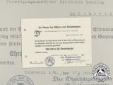A 1934 Award Document for the Hindenburg Cross