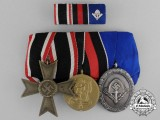 A Parade Mounted Second War German Medal Bar of Three Medals, Awards, and Decorations