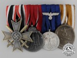 A Parade Mounted Second War German Medal Bar of Four Medals, Awards, and Decorations