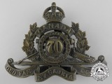 A First War Canadian 70th Overseas Field Battery Cap Badge