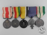 A Pre Second War Japanese Medal Bar of Five Awards