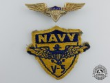 Two Second War Period American V-5 Naval Aviation Cadet Insignias