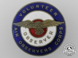 A Second War British Volunteer Observer Corps Badge; Numbered