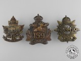 Three Canadian First War Cap Badges