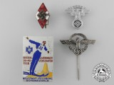 Four German Badges, Pins, and Insignia