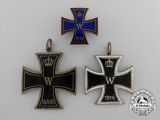 Three First War German Iron Cross Badges 1914-15-16