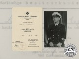 Two Award Documents to Kriegsmarine Leutnant zur See; Wound Badge & EK