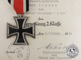An Iron Cross 1939 Second Class with Award Certificate to Sailor Onboard Destroyer Z-23